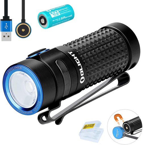 Picture of Olight S1R II Baton Small Flashlight 1000 lumens / 138 Meters CW LED Compact Torch Light Rechargeable Side-Switch EDC Flashlight - with Rechargeable Battery+BanTac Battery Case