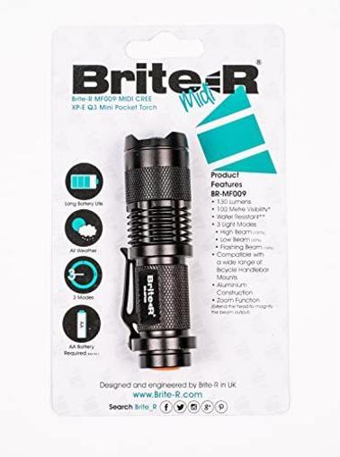 Picture of Brite-R BR-MF009BK Midi CREE XP-E Q3 LED Mini Handheld Adjustable Zoom Pocket Torch Flashlight - Black