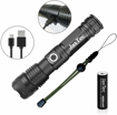 Picture of JaxTec LED Torch -5 Modes P50 Flashlight with USB Charger Super Bright 3200 Lumens Powerful Tactical - Handheld Torch for Camping - Hiking -18650 Rechargeable Battery Included