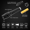 Picture of LED Torch Super Bright 2000 Lumen - Powerful LED Flashlight Large Size - Waterproof Torch Adjustable Focus Zoomable with 5 Modes for Outdoor Activities and Emergency Use