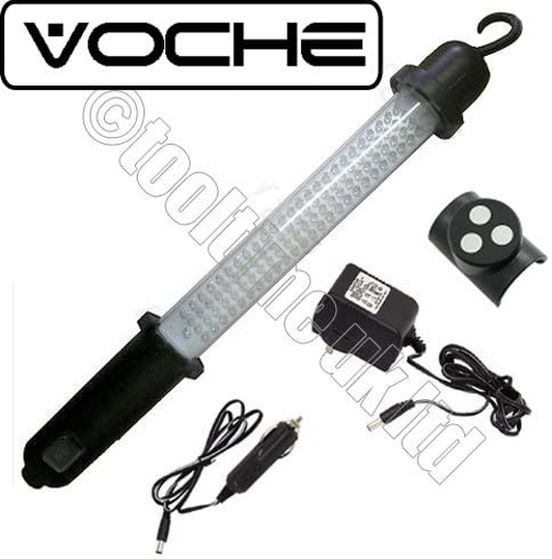 Picture of Voche Superbright 100 LED Rechargeable Cordless Worklight Garage Inspection Lamp - Mains and Car Cigarette Charger Included