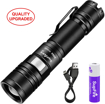 Picture of Supfire Tactical Flashlight Water-Proof Zoomable Torch Super Bright 950 Lumens Cree LED with 18650 Battery Included -Rechargeable with USB Directly -5 Modes for Camping Hiking Cycling etc -Model A2
