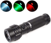 Picture of Red Green White Handheld Tactical Flashlights LED Torch Tri-Color Road Signal Torch Waterproof IPX7 3 Modes for Night Vision Hunting Walking Reading (3 Colors Light)