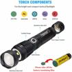 Picture of LED Torch High Lumens XHP50 USB Rechargeable Flashlight Zoomable Waterproof Flashlight Outdoor Emergency Lighting with Power Indicator + Battery