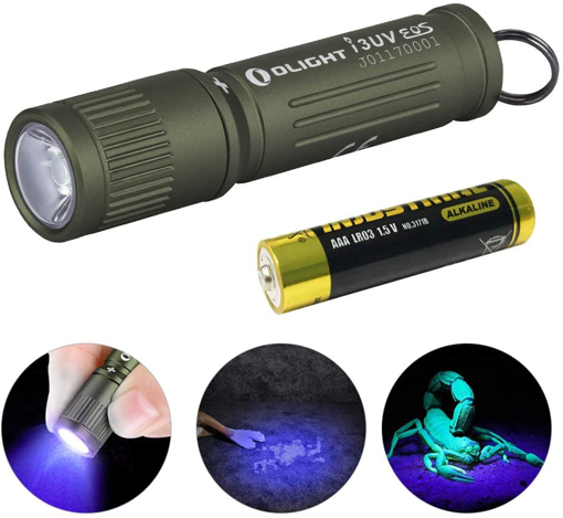 Picture of OLIGHT i3UV EOS EDC Keyring UV LED Torch Flashlight - Ultraviolet Torch 395nm Single AAA Battery Lights for Pet Urine Detector - Find Stains on Clothes Floor Carpet Rugs and Authenticate Currency