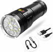 Picture of Semlos Super Bright LED Torch - USB-C Rechargeable Flashlight - Power Display and Insulation Protection Camping Lights - 4 Modes for Indoor Outdoor Lighting