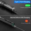 Picture of Novostella Type C Rechargeable CREE LED Torch - 1100lm Super Bright Fast Charge Torch - Zoomable Tactical Torch - 3200mah Battery - IP65 Waterproof Camping Flashlight Torches - 5 Modes