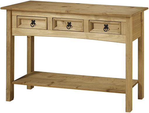 Picture of Corona 3 Drawer Console Table, Wood, Antique Wax