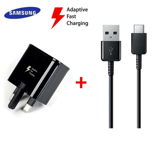 Picture of Genuine Samsung Galaxy A30 A30s Fast Charger Adapter With USB-C Cable UK - Black