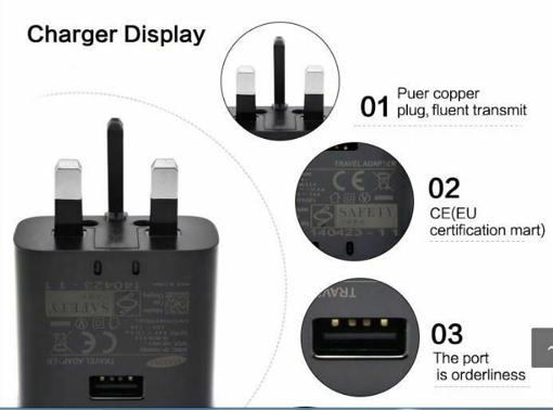 Picture of Original Samsung Galaxy  Charger Adapter & 2m Type-C Charging  Cable For S8   S8 Plus - Black