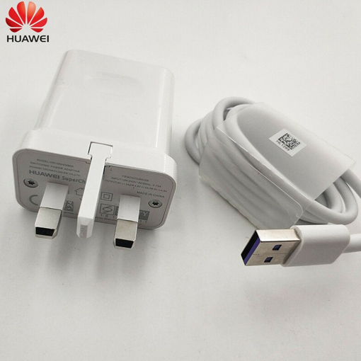 Picture of Genuine Huawei P30, P30 Pro, P30 Lite Fast Charging Plug with USB-C Cable (1M)- White