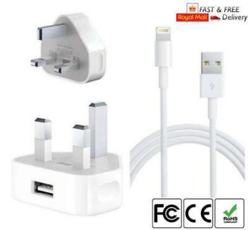 Picture of Apple CE approved Charger Plug & USB Data Cable for Apple iPhone 7 7 Plus 8 8 Plus X XR Xs Xs Max