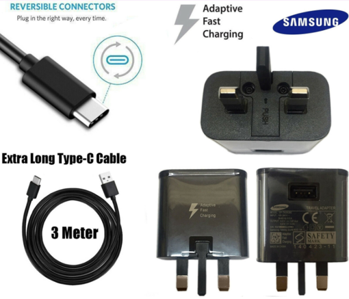 Picture of Genuine Samsung Fast Charger Adapter & 3M USB-C Cable For Galaxy S20  Black