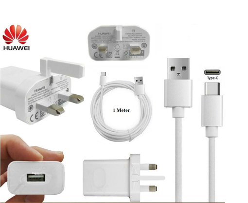 Picture of Genuine Huawei Fast Charging Plug and Type C Cable for P10 and other Huawei Devices.