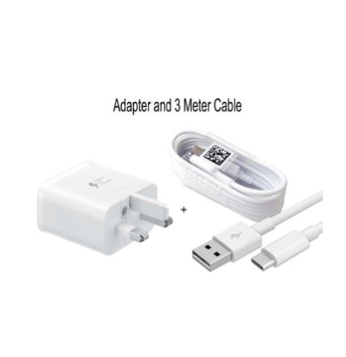 Picture of Genuine Samsung Fast Charger Adapter & 3M USB-C Cable For Galaxy S10,S10+, S9, S9+ and Note 9 10 - White
