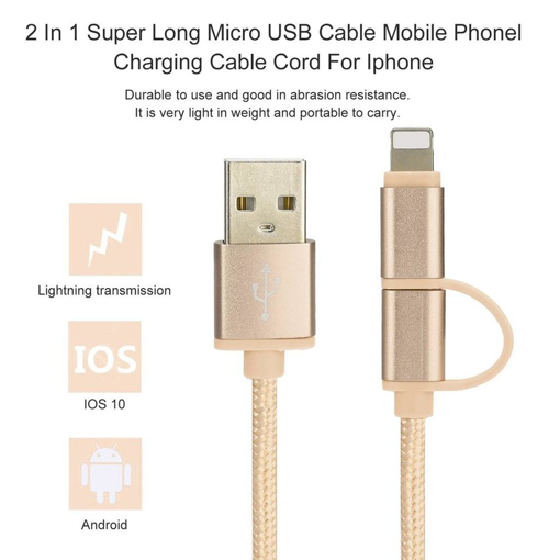 Picture of STAR 2-in-1 iPhone Lightning and Micro USB Charging Cable for Apple iPhones and Android Devices - Gold