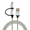 Picture of STAR 2-in-1 iPhone Lightning and Micro USB Charging Cable for Apple iPhones and Android Devices - Silver