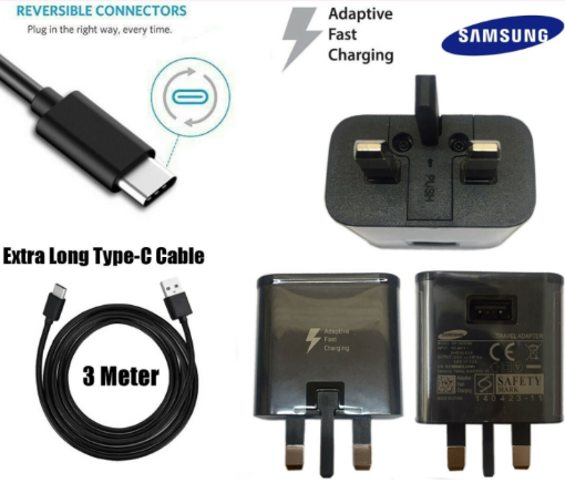 Picture of Samsung EP-TA20UBE Fast Mains Adapter Charger With 3m Braided TYPE-C Cable For Samsung Galaxy S8 / S8 Plus+ / S9 / S9 Plus / A5 (2017) / A7 (2017) (No Retail Packaging) - BLACK